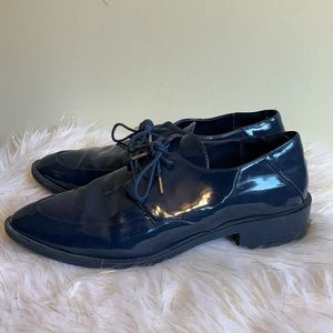 Zara blue patent leather shoes size 8